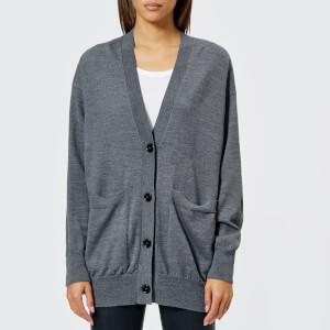 MM6 Maison Margiela Women's Wool Cardigan with Elbow Patches - Grey Melange