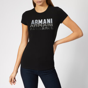 Armani Exchange Women's Logo Sequin T-Shirt - Black