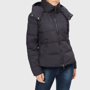 Armani Exchange Women's Down Short Jacket with Hood - Navy