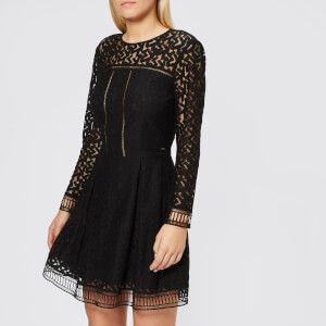Armani Exchange Women's Cord Lace Long Sleeve Dress - Black