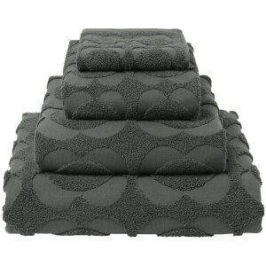 Orla Kiely Spot Sculpted Flower Towels - Charcoal (Pack of 2)