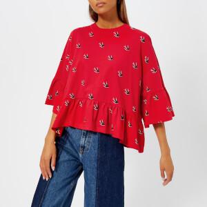 McQ Alexander McQueen Women's Loose Ruffle T-Shirt - Riot Red