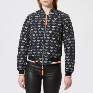 Emporio Armani Women's Short Logo Bomber Jacket - Black