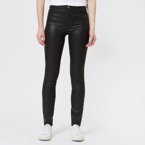 Emporio Armani Women's Coated Black Denim High Rise Jeans - Black