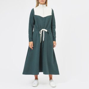 Maison Kitsuné Women's Sweatshirt Dress - Green Ecru
