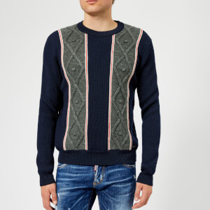 Dsquared2 Men's Stripe Knitted Jumper - Navy/White/Red/Grey