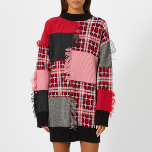 MSGM Women's Patchwork Fringe Jumper Dress - Multi