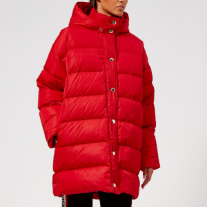 MSGM Women's Logo Hood Coat - Red
