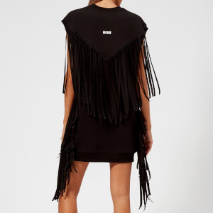 MSGM Women's Sleeveless Oversized Fringed Sweat Dress - Black