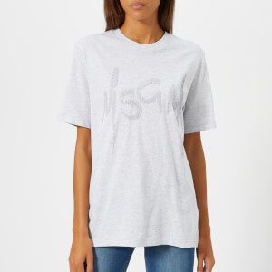 MSGM Women's Crystal Logo T-Shirt - Grey