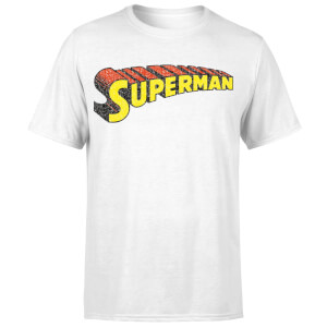 DC Superman Telescopic Crackle Logo Men's T-Shirt - White