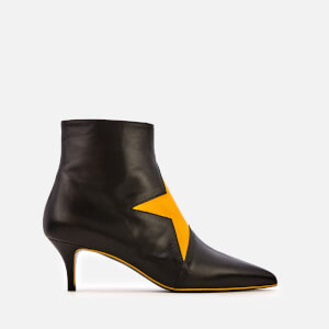 MSGM Women's Star Print Leather Ankle Boots - Black/Yellow