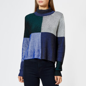 PS Paul Smith Women's High Neck Checked Knitted Jumper - Indigo