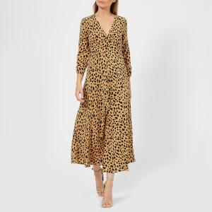 RIXO London Women's Katie Dress - Spot Leopard Camel