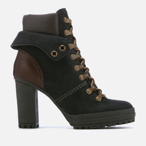 See By Chloé Women's Nabuck Platform Heeled Lace Up Boots - Nero