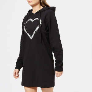 Love Moschino Women's Heart Logo Hoodie Dress - Black