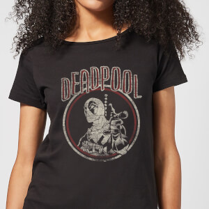 Marvel Deadpool Vintage Circle Women's T-Shirt - Black