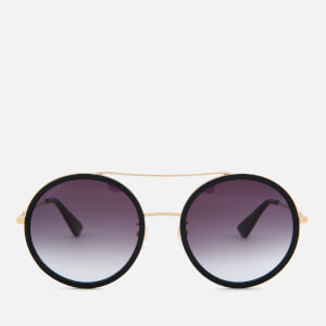 Gucci Women's Metal Frame Round Sunglasses - Gold/Grey