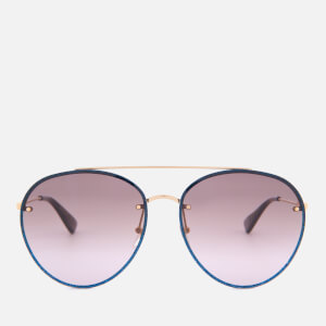 Gucci Women's Metal Frame Round Sunglasses - Gold/Brown