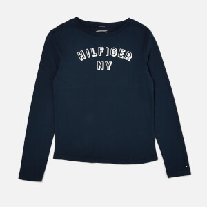 Tommy Hilfiger Boy's Essential Big Logo Long Sleeve T-Shirt - Black Iris