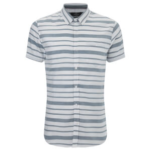 Threadbare Men's Mitts Short Sleeve Shirt - Light Blue/White Stripe