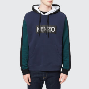 KENZO Men's Double Front Logo Hoody - Ink