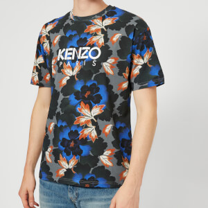 KENZO Men's Floral Paris Logo T-Shirt - Anthracite