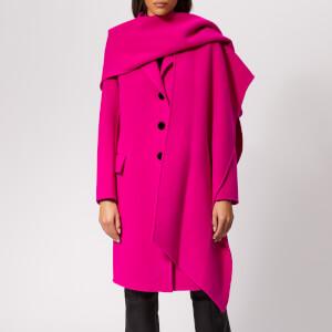 Marc Jacobs Women's Notch Collar Coat w/Hood Scarf - Hot Pink