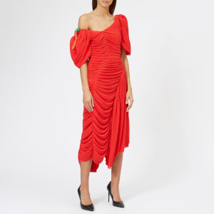 Preen By Thornton Bregazzi Women's Pleated Georgette Kesia Dress - Red