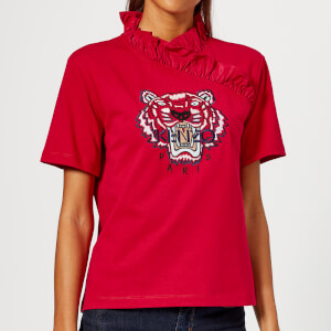 KENZO Women's Small Tiger Sweatshirt with Ruffles - Red