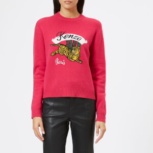 KENZO Women's Jumping Tiger Intarsia Knit Sweatshirt - Deep Fuchsia