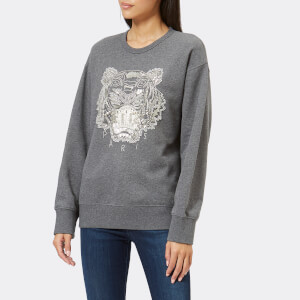 KENZO Women's Beaded Tiger Molleton Sweatshirt - Dark Grey