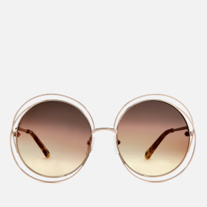 Chloe Women's Carlina Round-Frame Sunglasses - Gold/Grey Orange
