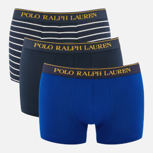 Polo Ralph Lauren Men's 3 Pack Classic Trunks - Cru Navy/Sapphire/Star/Navy/White Stripe