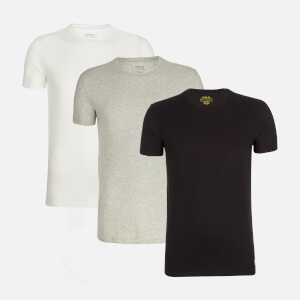 Polo Ralph Lauren Men's 3 Pack Short Sleeve Crew Neck T-Shirt - White/Black/Andover Heather