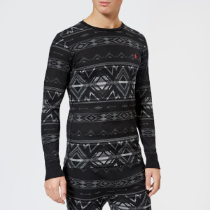 Polo Ralph Lauren Men's Mini Waffle Crew Neck Sweatshirt - Charcoal Beacon