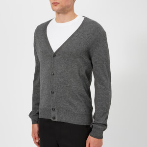 Maison Margiela Men's Gauge 14 Jersey Cardigan Elbow Patches Decortique - Medium Grey Melange