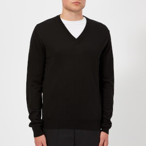 Maison Margiela Men's Gauge 14 Jersey V Neck Elbow Patches Decortique Jumper - Black