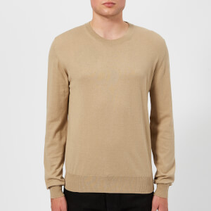 Maison Margiela Men's Gauge 14 Jersey Crew Neck Elbow Patches Decortique Jumper - Camel