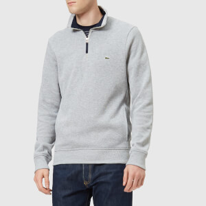 Lacoste Men's 1/4 Zip Sweatshirt - Silver Chine/Navy Blue