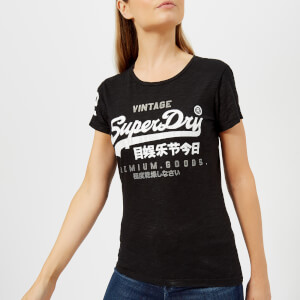 Superdry Women's Premium Goods Duo Entry T-Shirt - Night Star Black Lurex