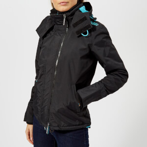 Superdry Women's Pop Zip Hood Arctic Windcheater - Black/Blue Mist