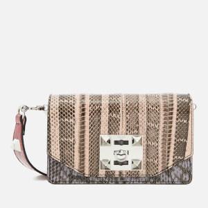 SALAR Women's Kio Snake Bag - Ruby/Baby Pink/Lilac