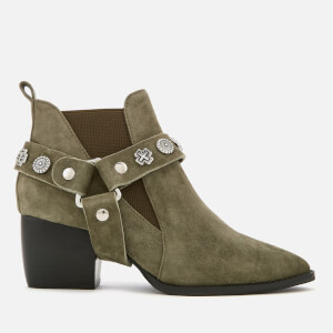 Sol Sana Women's Bruno Suede Western Heeled Boots - Olive