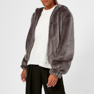 Helmut Lang Women's Hooded Mink Bomber Jacket - Seal