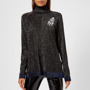 Karl Lagerfeld Women's Space Karl Lurex Knitted Jumper with Patches - Black