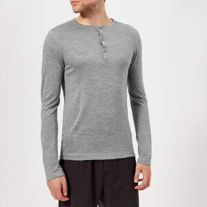 FALKE Ergonomic Sport System Men's Long Sleeve Henley Top - Grey Heather
