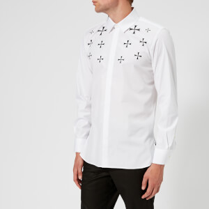 Neil Barrett Men's Military Star Fairisle Popeline Shirt - White/Black