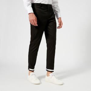Neil Barrett Men's Cuff Taping Side Zip Pants - Black/White