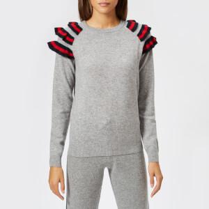 Madeleine Thompson Women's Dia Frill Knit Jumper - Grey & Red